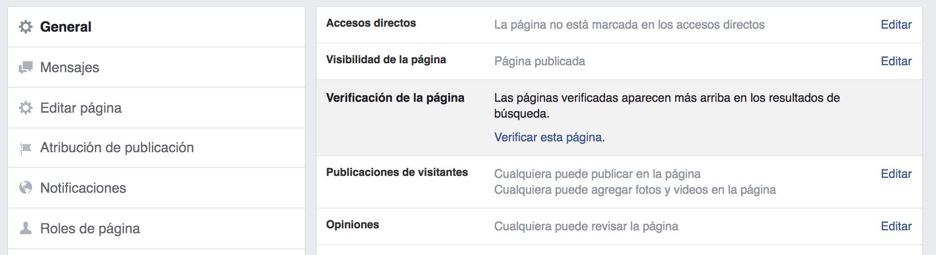 Verificación página negocio local en Facebook